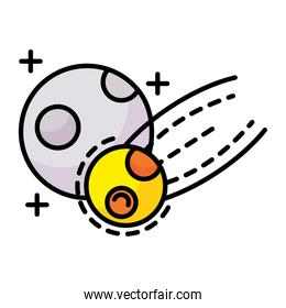 meteorite flying with moon line and fill style icon