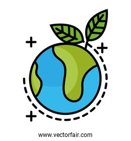 world planet with leafs line and fill style icon