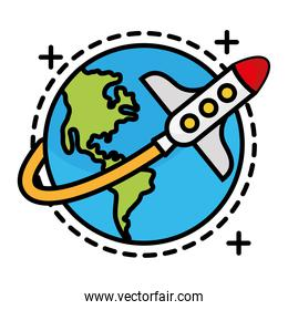 world planet with rocket flying line and fill style icon