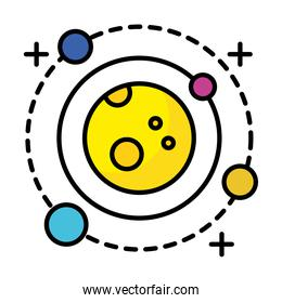 planet with four satellites orbiting around line and fill style icon