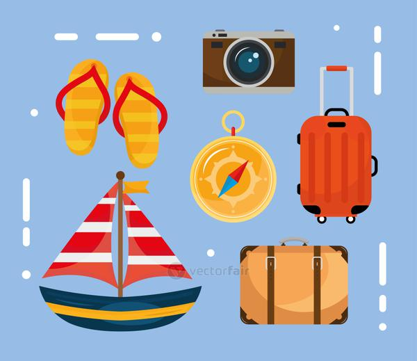 bundle of six vacations travel set icons