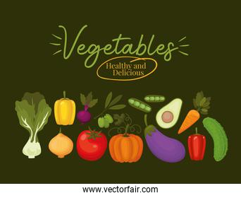 vegatables healthy and delicious lettering and set of vegatbles icons