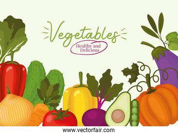 vegatables healthy and delicious lettering and set of vegatbles icons on a white background