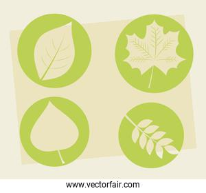 bundle of four leafs plants silhouette style icons