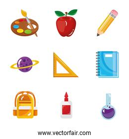 bundle of nine back to school set collection icons