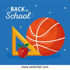 back to school lettering with basketball balloon and rule