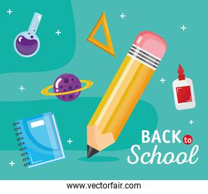 back to school lettering with set school supplies