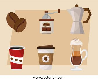 bundle of coffee delicious drink six set icons in beige background