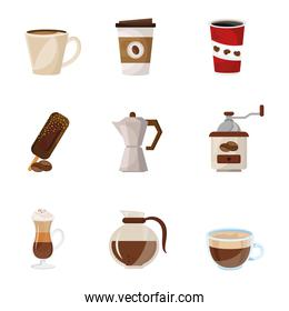 bundle of coffee delicious drink set icons