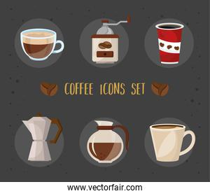 bundle of six coffee delicious drink set icons and lettering