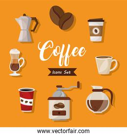 bundle of eight coffee delicious drink set icons and lettering