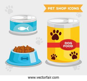 bundle of three pet shop set icons and lettering