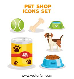 bundle of six pet shop icons and lettering