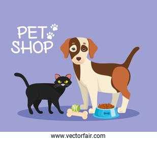 cat and dog with pet shop set icons