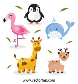 bundle of five cute animals kawaii characters and leafs
