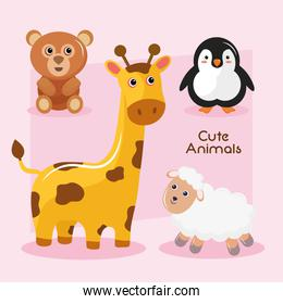 bundle of four animals kawaii characters and lettering