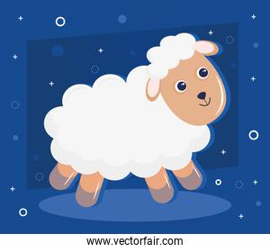 cute little sheep animal kawaii character in blue background