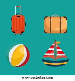 bundle of four vacations travel set icons