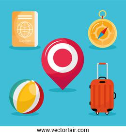 bundle of five vacations travel set icons