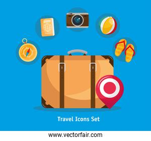 bundle of seven vacations travel set icons and lettering