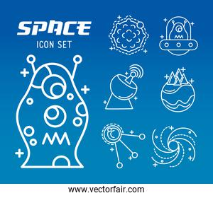 bundle of seven space set line style icons and lettering