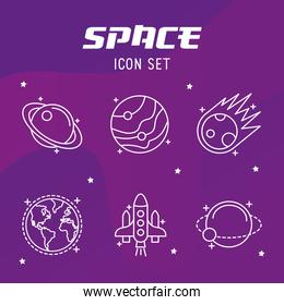 bundle of five space set line style icons and lettering
