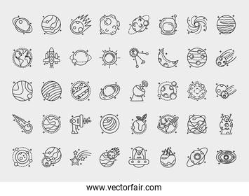 bundle of fourty space set line style icons