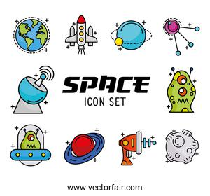 bundle of ten space set line and fill style icons and lettering
