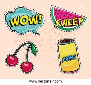 bundle of four pop art stickers icons