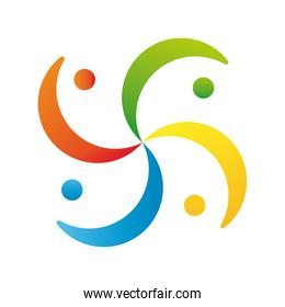 company team around logo colorful design icon