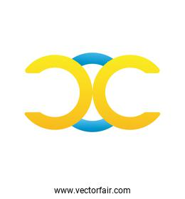 letters and rings company logo colorful design icon