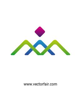 mountains and diamond company logo colorful design icon