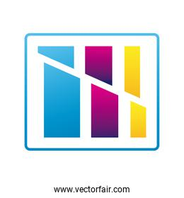 colors bars in square company logo colorful design icon