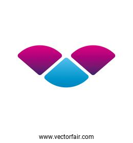 triangles blue and pink company logo colorful design icon