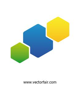 hexagons set colors company logo colorful design icon