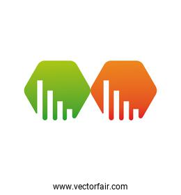 green and orange hexagons company logo colorful design icon