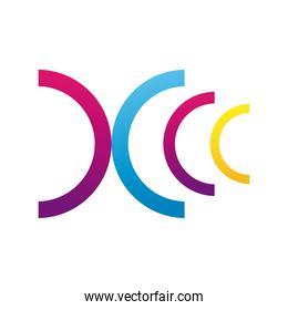 colors half circles company logo colorful design icon