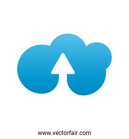 cloud and arrow upload company logo colorful design icon