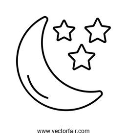 crescent moon and stars weather line style icon