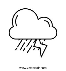 cloud with electric storm weather line style icon