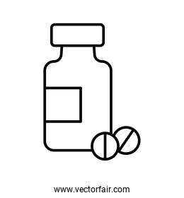 pills drugs bottle line style icon