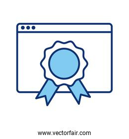 webpage template with medal line style icon