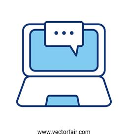 laptop computer portable and speech bubble line style icon