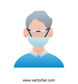 man wearing medical mask accessory line style icon