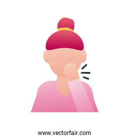 woman coughing avatar character icon