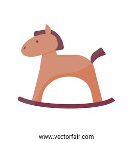 horse wooden baby toy flat style icon