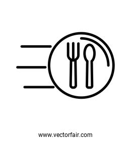fork and knife speed delivery food line style icon