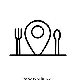 fork and knife in pin location delivery food line style icon