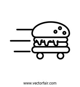 hamburger with wheels delivery food line style icon