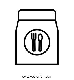 paper bag with fork and knife delivery food line style icon